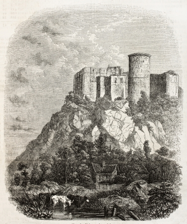 impregnable: Old illustration of Chateau de Falaise, in the Calvados department of Normandy, France. Created by Bertrand, published on Magasin Pittoresque, Paris, 1850
