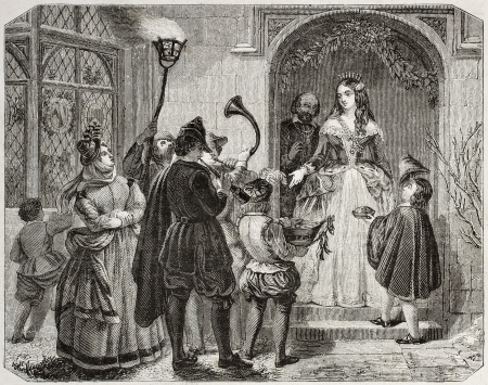 Old illustration of Christmas Queen, traditional English custom.  By unidentified author, published on Magasin Pittoresque, Paris, 1850 Stock Photo - 15294204