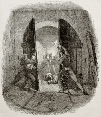 napoleon: Old illustration of British soldiers closing door in Hougmount castle, defending from French attack during Waterloo battle. Created by Pauquet after Jones, publ. on Magasin Pittoresque, Paris, 1850 Editorial