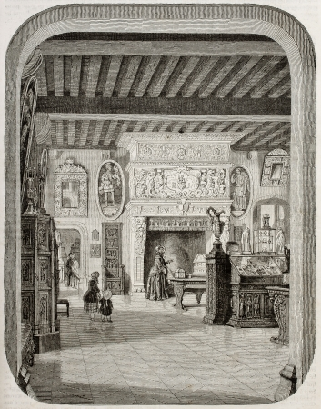 Old illustration of renaissance fireplace in the Cluny museum, Paris. Created by Freeman and Gusman, published on Magasin Pittoresque, Paris, 1850