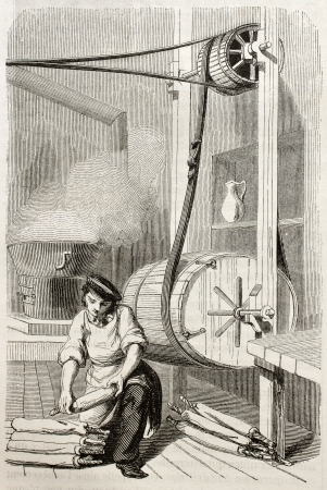 antique factory: Old illustration of man working in degreasing workshop in antique needle factory. By unidentified author, published on Magasin Pittoresque, Paris, 1850