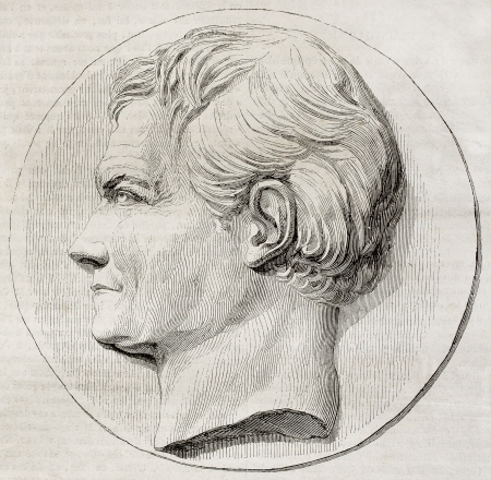 henri: Old illustration of a commemorative medallion depicting Henri Marie Ducrotay de Blainville, French zoologist and anatomist. Created by dAngers, published on Magasin Pittoresque, Paris, 1850.