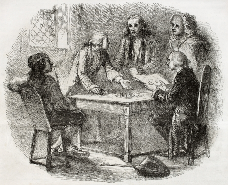 creditor: Old illustration of group of men discussing about money around a table. Created by Johannot, published on Magasin Pittoresque, Paris, 1850