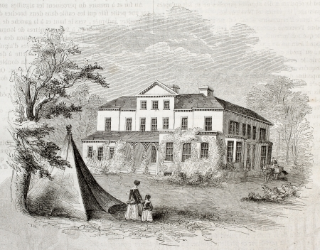 Old illustration of  Edgeworthstown House, historic dwelling of Edgeworth family, Ireland. By unidentified author, published on Magasin Pittoresque, Paris, 1850