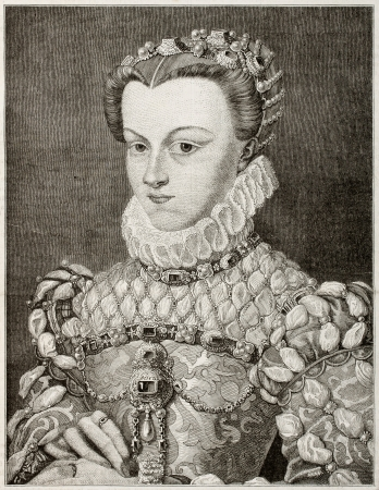 Old engraved portrait of Elizabeth of Austria, queen of France. Created by Gagniet after painting of Clouet kept in Louvre museum. Published on Magasin Pittoresque, Paris, 1850 Stock Photo - 15294305