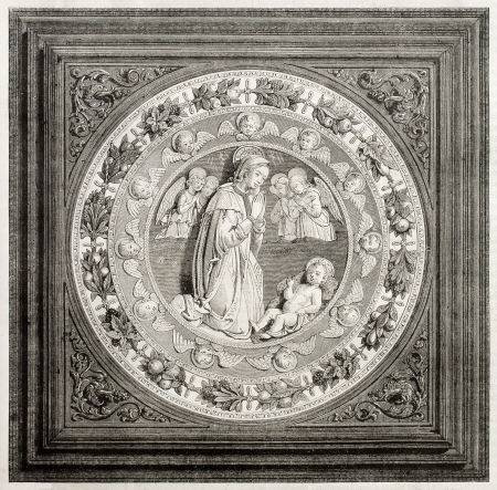 Old illustration of antique enamelled earthenware by Luca Della Robbia in the Cluny museum, Paris. Created by Freeman and Gusman, published on Magasin Pittoresque, Paris, 1850