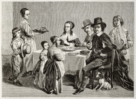 sculp: Old illustration of family meal. Created by Janet-Lange (sculp. Best, Hotelin and Regnier) after painting of Le Nain brothers. Published on Magasin Pittoresque, Paris, 1850