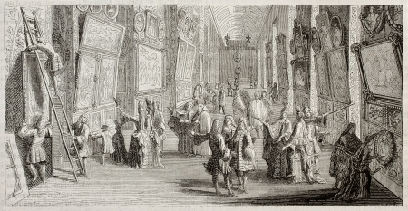 Old illustration of the first pictures exhibition in Louvre museum, Paris. Original print dated 1699. Created by Hadamard.  Repruduction published on Magasin Pittoresque, Paris, 1850