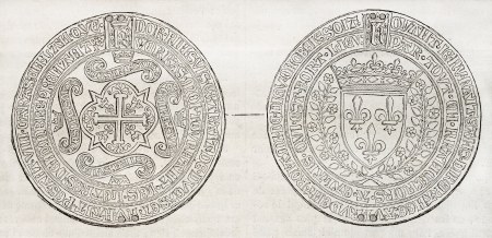 coined: Old illustration of the first French medal coined in 1451 during Charles VII reign. By unidentified author, published on Magasin Pittoresque, Paris, 1850