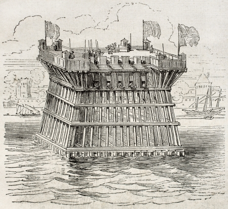 Old illustration of defensive fortification during the siege of La Rochelle. By unidentified author, published on Magasin Pittoresque, Paris, 1850 Editorial