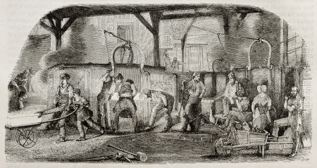 industrial heritage: Old illustration of iron production: foundry in La Houilles, France. By unidentified author, published on Magasin Pittoresque, Paris, 1850.