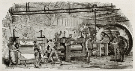 foundry: Old illustration of iron production in La Houilles foundry, France: rolling mills line moved by hydraulic wheel. By unidentified author, published on Magasin Pittoresque, Paris, 1850