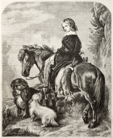 Old illustration of a girl horseback. Created by Freeman after Landser, published on Magasin Pittoresque, Paris, 1850