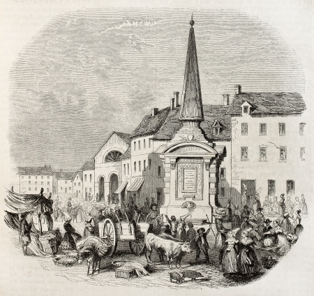 market place: Old illustration of market place in Gournay, France. Created by Ponetenier, published on Magasin Pittoresque, Paris, 1850