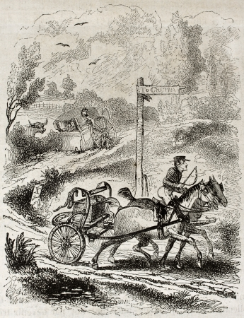 gretna green: Old humorous illustration of runaway wedding towards southern Scotland. By unidentified author, published on Magasin Pittoresque, Paris, 1850