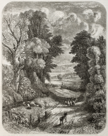 Old landscape of Hampstead, at present days within Greater London. Created by Marvy and Piaudois after painting of Constable. Published on Magasin Pittoresque, Paris, 1850