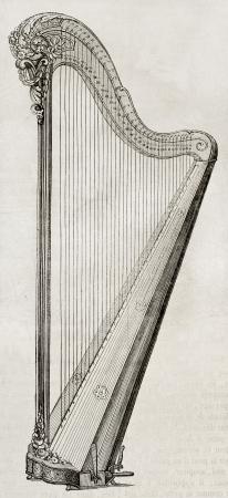 arpa: Antigua ilustración de un arpa. Por autor no identificado, publicado el Magasin Pittoresque, París, 1850