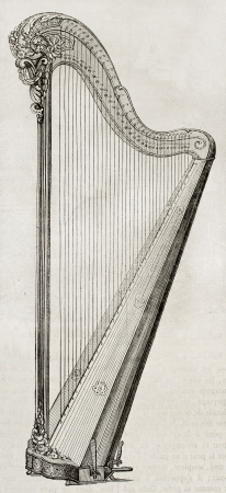 Old illustration of an Harp. By unidentified author, published on Magasin Pittoresque, Paris, 1850