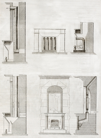 Old Schematic Illustrations Of House Heating System. By Unidentified ...