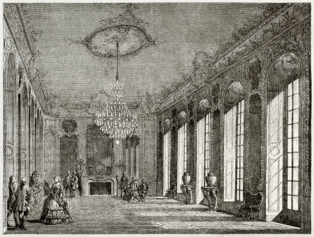 french doors: Old illustration of Hotel de Villars interior, Paris. Created by Davioud, published on Magasin Pittoresque, Paris, 1850 Editorial