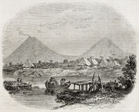 guatemala: Old view of Iztapa, Guatemala. Created by Morellet, published on Magasin Pittoresque, Paris, 1850 Editorial