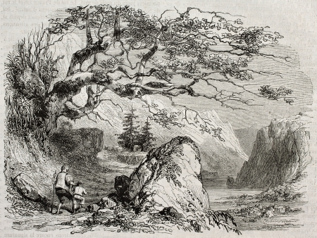 Landscape with man and child. Created by Girardet, published on Magasin Pittoresque, Paris, 1850