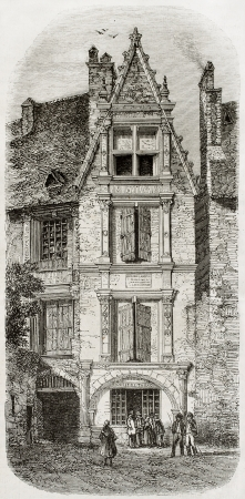 ancient philosophy: Old illustration of Etienne La Boetie native house in Sarlat, France. Created by Drouyn, published on Magasin Pittoresque, Paris, 1850 Editorial