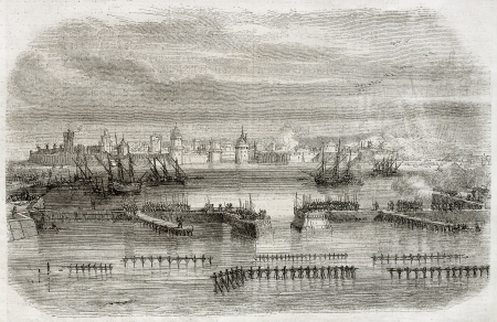 17th century: Old view of La Rochelle in the beginning of 17th century. By unidentified author, published on Magasin Pittoresque, Paris, 1850 Editorial