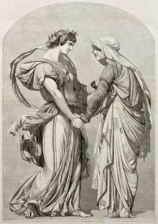 allegoric: Love can not age: old allegoric illustration. Created by Gerome, Published on Magasin Pittoresque, Paris, 1850.