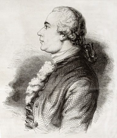 engraver: Old engraved portrait of Jean-Michel Moreau, known as Moreau le jeune (Moreau the younger), French illustrator and engraver. Created by Geoffroy, published on Magasin Pittoresque, Paris, 1850