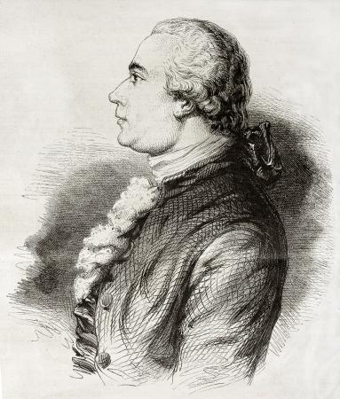 engraver: Vecchio ritratto inciso di Jean-Michel Moreau, noto come Moreau le jeune (Moreau il Giovane), illustratore e incisore francese. Creato da Geoffroy, pubblicato il Magasin Pittoresque, Parigi, 1850
