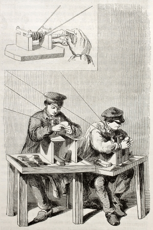 Old illustration of workmen improving needle eyes in an antique factory. By unidentified author, published on Magasin Pittoresque, Paris, 1850