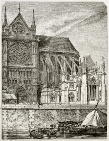 notre dame de paris: Old illustration of new sacristy of Notre Dame de Paris. Created by Therond, published on Magasin Pittoresque, Paris, 1850  Editorial