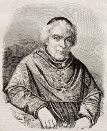 Old engraved portrait of Jean-Baptiste Girard (known as Pere Girard), Swiss Franciscan pedagogist. By unidentified author, published on Magasin Pittoresque, Paris, 1850 Stock Photo - 15294240
