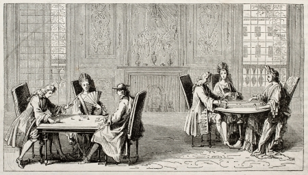 Old illustration of people playing trictrac on two tables. Created by Pauquet after Leclerc, published on Magasin Pittoresque, Paris, 1850