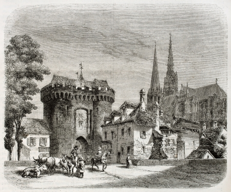 chartres: Old view of Porte Guillaume, Chartres, France. Created by Therond, published on Magasin Pittoresque, Paris, 1850