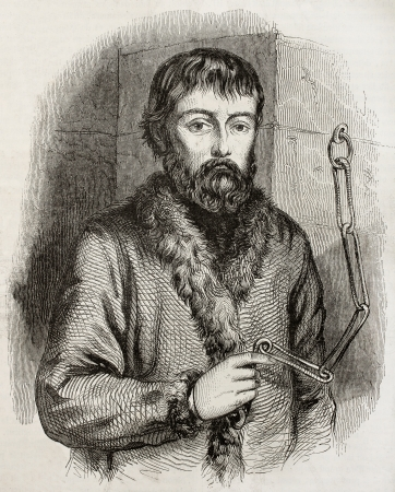 insurrection: Old engraved portrait of Ymelyan Pugachev, theleader of Cossack insurrection, chained. Crerated by Cheoffroy, published on Magasin Pittoresque, Paris, 1850
