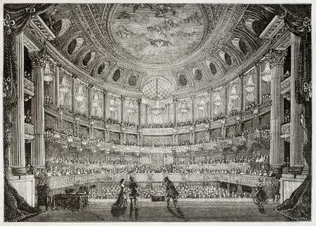 teatro antiguo: Antigua ilustración de la Royal Opera de Versalles. Creado por Davioud, publicado el Magasin Pittoresque, París, 1850 Editorial