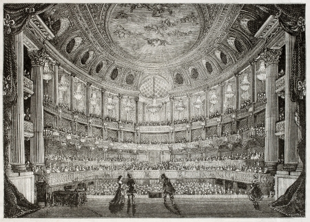 Old illustration of Royal Opera of Versailles. Created by Davioud, published on Magasin Pittoresque, Paris, 1850