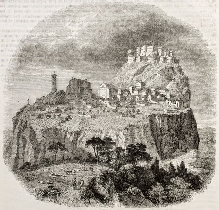 san marino: Old view of San Leo, Italy. Created by Freeman, published on Magasin Pittoresque, Paris, 1850
