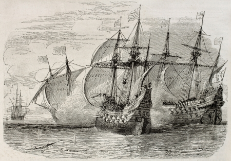 a battleship: Old illustration of sea battle between French and British ships during the siege of La Rochelle. Created by Rouargue, published on Magasin Pittoresque, Paris, 1850 Editorial