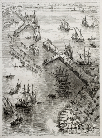Siege of La Rochelle: view of Richelieu breakwater built by Du Plessis and Vassal. Created by Rouargue after engraving of 17th century by Callot. Published on Magasin Pittoresque, Paris, 1850 Editorial