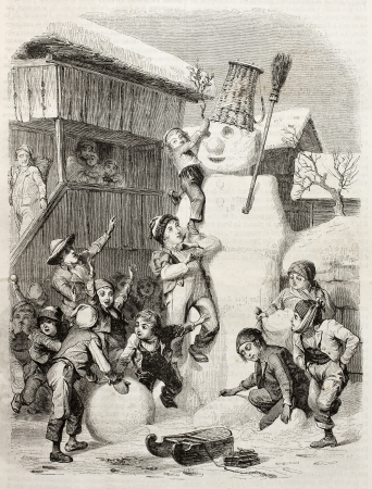 sculp: Children in Brienz village (Switzerland) making very big snow man and playing with it. Created by Girardet (sculp. Best, Hotelin and Regnier), published on Magasin Pittoresque, Paris, 1850