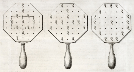peg board: Antique illustration of an old solitaire board. By unidentified author, published on Magasin Pittoresque, Paris, 1850 Editorial