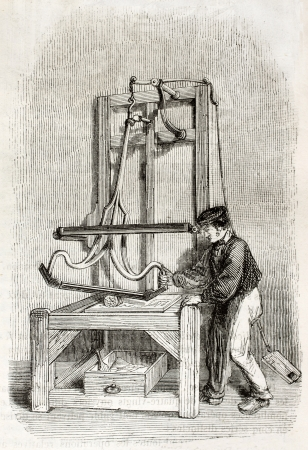 industrial heritage: Old illustration of wire Straightening workshop in antique needle factory. By unidentified author, published on Magasin Pittoresque, Paris, 1850