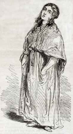slovenly: Old illustration of a street singer. Created by Gavarni, published on Magasin Pittoresque, Paris, 1850