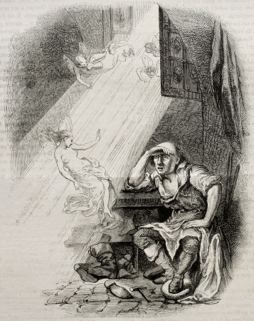 Old illustration of a sun beam entering through the window. Created by Pauquet, published on Magasin Pittoresque, Paris, 1850