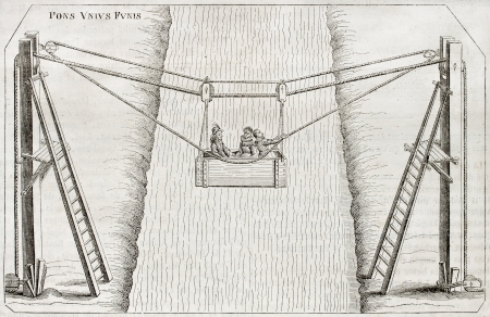 rope bridge: Old illustration of a suspension ferry over the river. After print by Wranezy of 17th century, published on Magasin Pittoresque, Paris, 1850