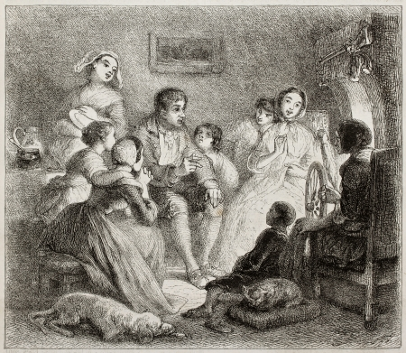 Old illustration of a man telling a story to boys and girls. Created by Johannot, published on Magasin Pittoresque, Paris, 1850