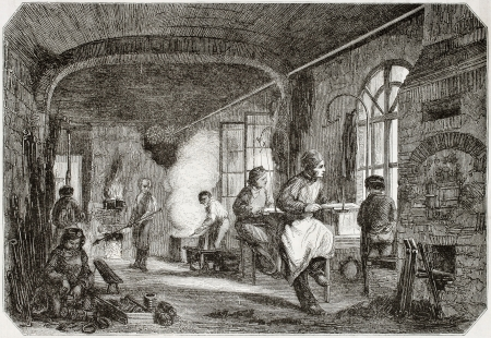 antique factory: Old illustration of tempering and bronzing workshop in antique needle factory. By unidentified author, published on Magasin Pittoresque, Paris, 1850  Editorial